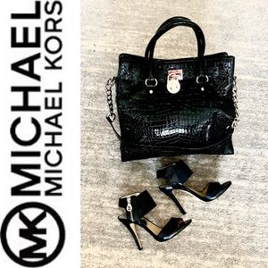 Stunning Michael Kors Black Leather Croc Handbag